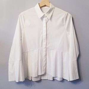Tops - Bottom Pleaded Loosfit Shirt with Hidden Buttons